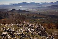 Viggiano, Italia - Una veduta della Val d'Agri  dal paese di Viggiano. Sullo sfondo il centro olii dell'Eni.<br /> Ph. Roberto Salomone