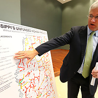 Adam Robison | BUY AT PHOTOS.DJOURNAL.COM<br /> Mike Tagert, Mississippi Transportation Commissioner, points of areas of road work that need be addresses throughout the state after holding a press conference on the current state of transportation at the office of the Northern District in Tupelo Thursday morning.