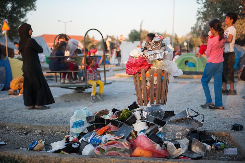 Kids playing amid piles of rubbish in Kara Tepe camp.