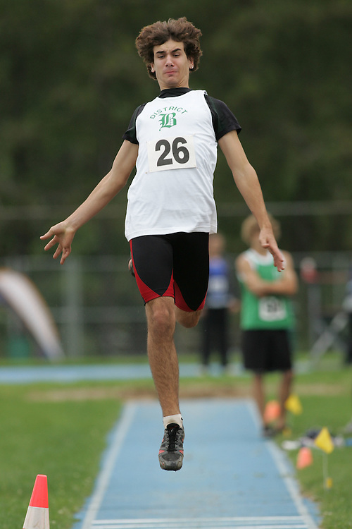 Jay Lauzon competing in the long jump at the 2007 Ontario Legion Track and Field Championships. The event was held in Ottawa on July 20 and 21.