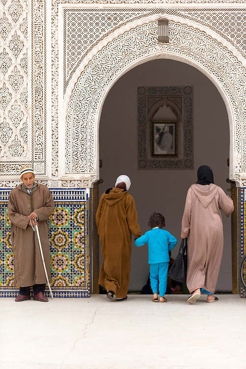 Zaouia / zawiya burial tomb shrine site of Sidi Bel Abbas (Abu al-Abbas) al-Sabti, Marrakesh, Morocco, 2016–04-19.<br /><br />Sidi Bel Abbas is seen as the most important saint of Marrakesh and is often referred as the patron saint of Marrakesh. <br /><br />Born in Ceuta in 1129, Sidi Bel Abbas was a strong believer in supporting the less fortunate, destitute and sick and handing out food to the poor. <br /><br />Food is often distributed to those in need outside his burial tomb to this day. It is the most visited of the Sufi shrines in Marrakesh.