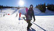 Chloe Kim takes a mid morning break from training to grab  hot chocolate at Copper Mountain in Copper Mountain, CO. ©Brett Wilhelm/ESPN