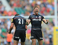 David Strettle of Saracens celebrates his try during the Aviva Premiership match at Allianz Park, London<br /> Picture by Michael Whitefoot/Focus Images Ltd 07969 898192<br /> 06/09/2014