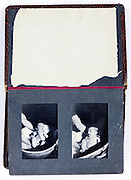old photo album page with new born baby 1947