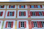 Chasa Flurina marble effect wall art in Engadine Valley village of Lavin, Switzerland