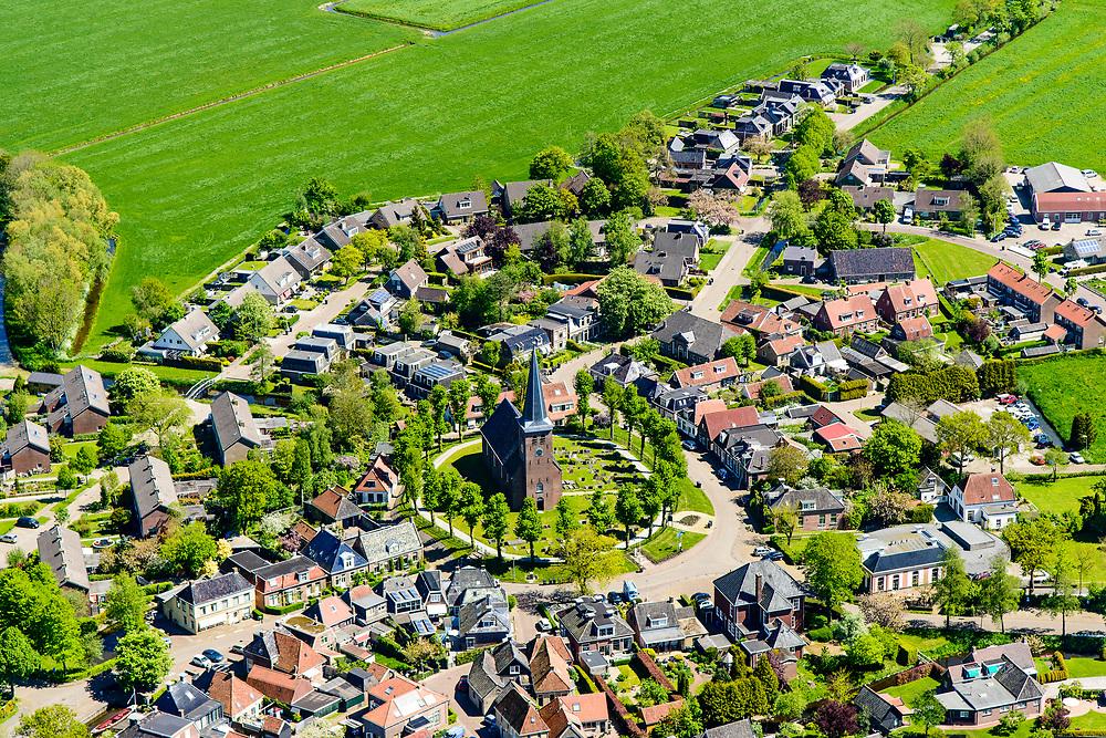 Nederland, Friesland,  gemeente Súdwest-Fryslân, 07-05-2018; terpdorp Rauwerd (Fries: Raerd), met Laurentiuskerk.<br /> Frisian village Rauwerd. <br /> <br /> luchtfoto (toeslag op standard tarieven);<br /> aerial photo (additional fee required);<br /> copyright foto/photo Siebe Swart