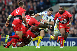 Ludovic Radoslavjevic of Clermont Auvergne takes on the Toulon defence - Photo mandatory by-line: Patrick Khachfe/JMP - Mobile: 07966 386802 02/05/2015 - SPORT - RUGBY UNION - London - Twickenham Stadium - ASM Clermont Auvergne v RC Toulon - European Rugby Champions Cup Final