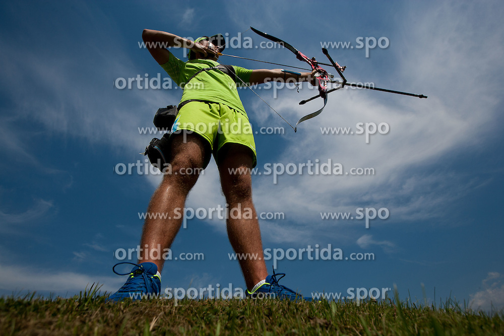 Slovenian archer Klemen Strajhar during Olympic training camp, on July 19, 2012 in Kamnik, Slovenia. (Photo by Vid Ponikvar / Sportida.com)