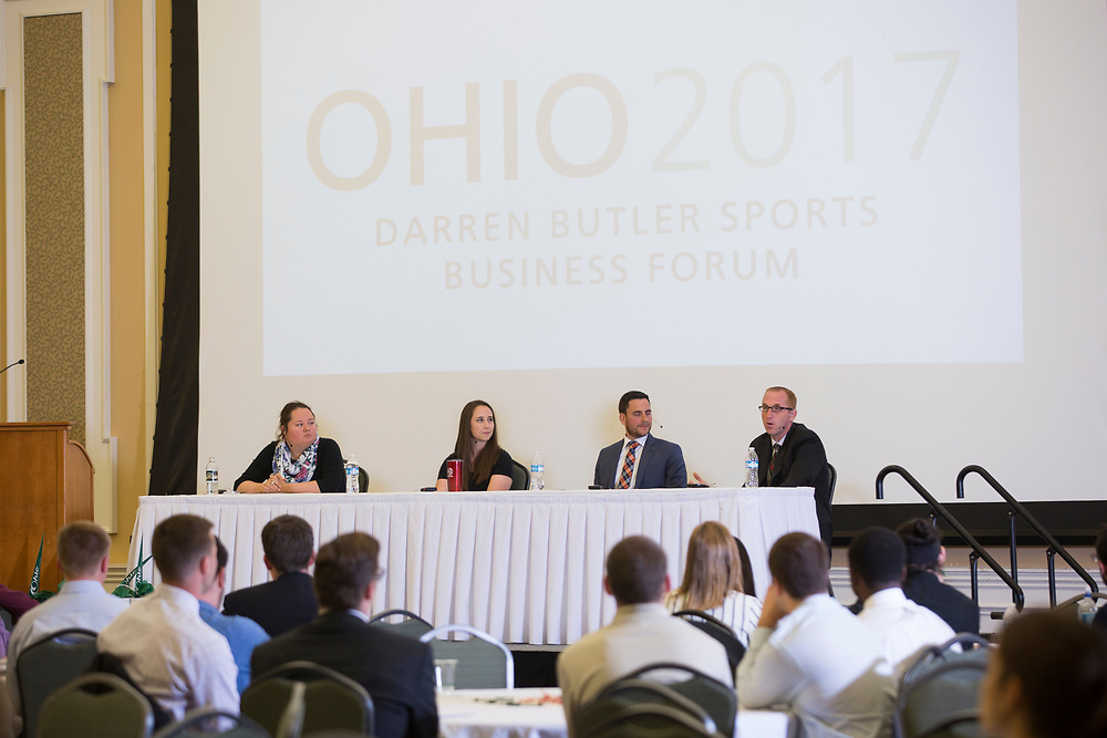 Alumni panelists answer audience questions at the Darren Butler Sports Business Forum on September 22, 2017.