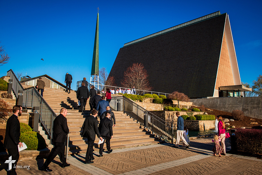 Pastoral candidates walk to Kramer Chapel for The Order of Vespers with Distribution of Calls into the Holy Ministry on Wednesday, April 25, 2018, at Concordia Theological Seminary, Fort Wayne, Ind. LCMS Communications/Erik M. Lunsford