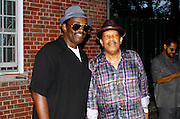 Roy Ayers and Fab 5 Freddy pose backstage at Central Park SummerStage on July 2, 2011 in New York City.