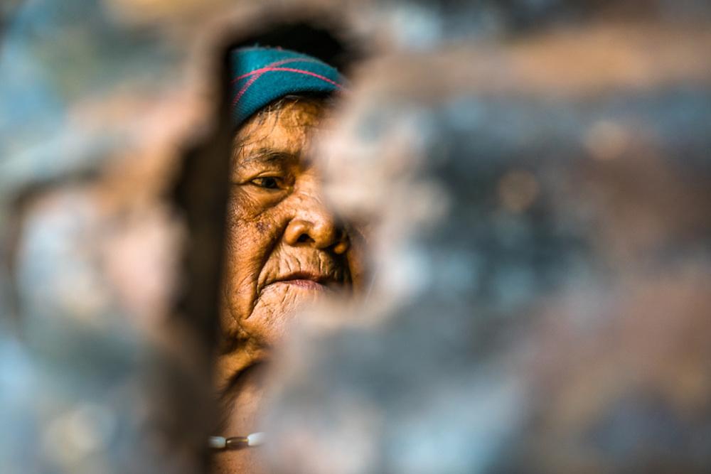 A M'Nong minority woman in portrait in a small village in Dak Lak, Province Central Vietnam.