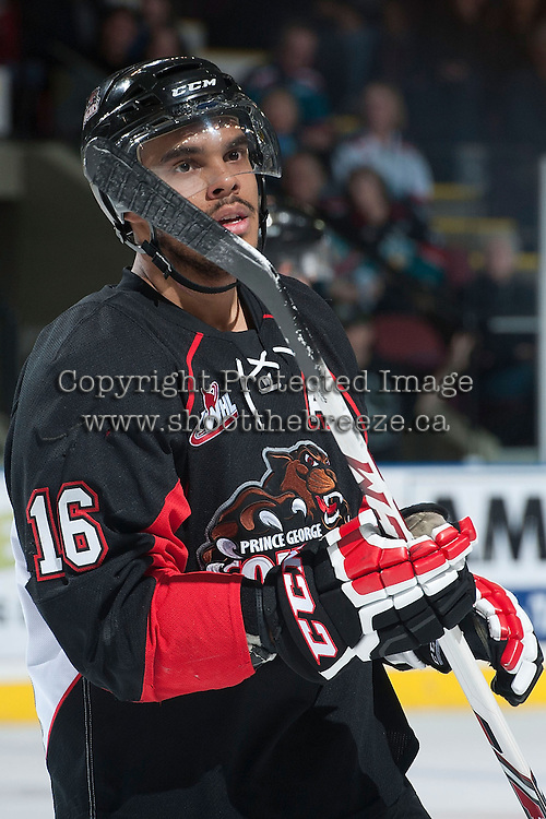 KELOWNA, CANADA -FEBRUARY 25: Klarc Wilson #16 of the Prince George Cougars stands on the ice against the Kelowna Rockets on February 25, 2014 at Prospera Place in Kelowna, British Columbia, Canada.   (Photo by Marissa Baecker/Getty Images)  *** Local Caption *** Klarc Wilson;