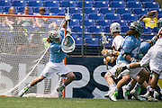 05/25/2014 - Baltimore, Md. - Tufts goalkeeper Patton Watkins, A14, makes a save in Tufts' 12-9 win over Salisbury to win the NCAA Division III Men's Lacrosse National Championship game at M&T Bank Stadium on May 25, 2014. (Kelvin Ma/Tufts University)