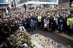 April 10, 2017 - Stockholm, Sweden - Thousands of people attended a silent minute manifestation on the crash site Drottninggatan in central Stockholm three days after the terror attack. (Credit Image: © Niklas Larsson/Bildbyran via ZUMA Wire)