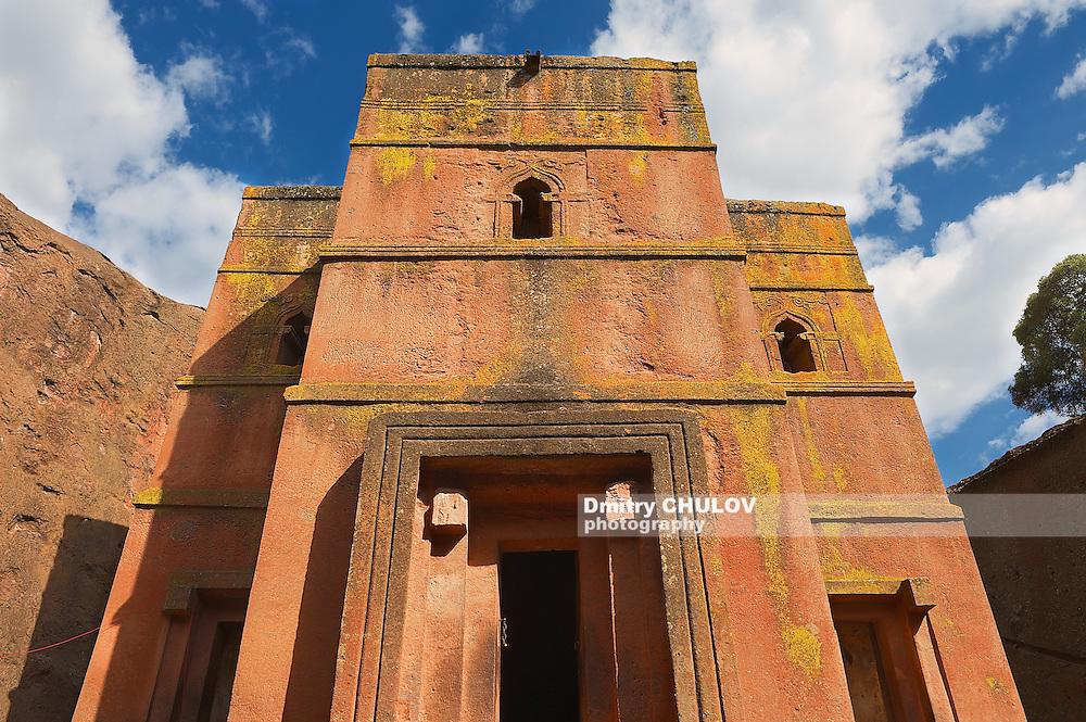 Unique monolithic rock-hewn Church of St. George (Bete Giyorgis), UNESCO World heritage, Lalibela, Ethiopia.