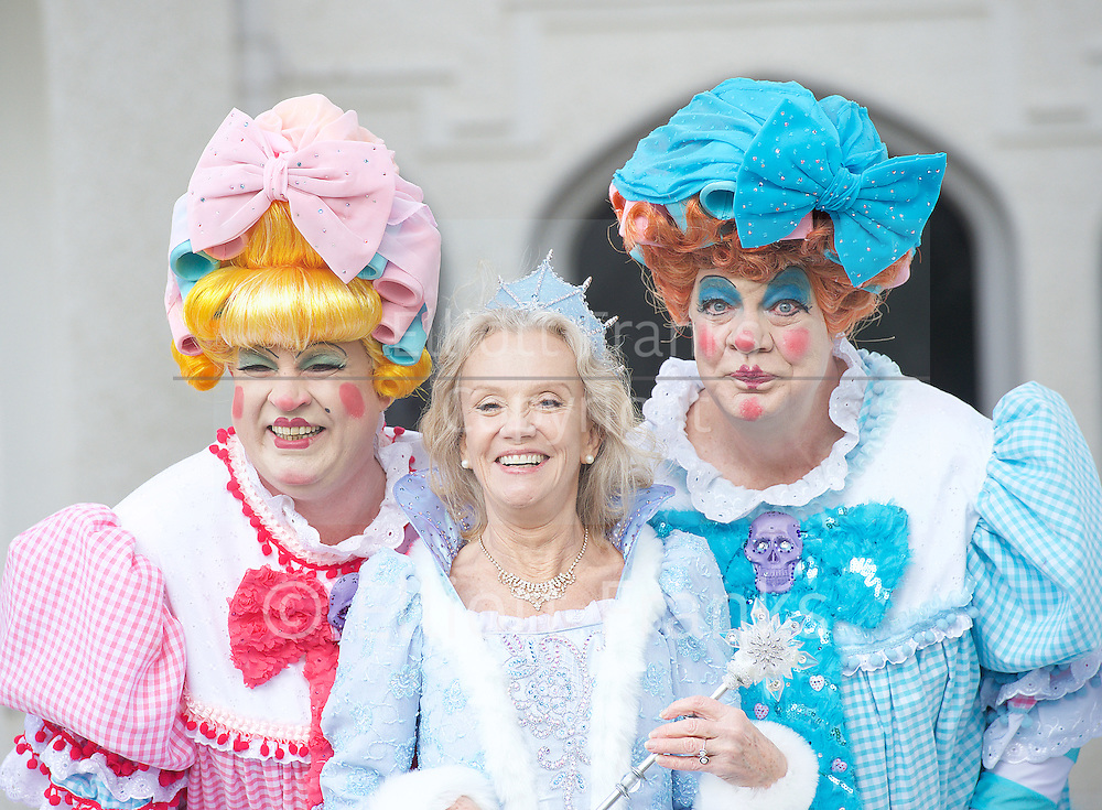 Hayley Mills as Fairy Godmother at the Cinderella publicity shoot for the Richmond Theatre production of Cinderella at Strawberry Hill House, Strawberry Hill, Nr Richmond, Great Britain <br /> 14th October 2015 <br /> <br /> <br /> <br /> <br /> Matthew Rixon as Ugly Sister Rita<br /> Hayley Mills as Fairy Godmother <br /> Matthew Kelly as Ugly Sister Cheryl<br /> <br /> Photograph by Elliott Franks <br /> Image licensed to Elliott Franks Photography Services