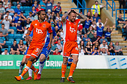 Blackpool midfielder Jim McAlister (4) rues a missed penalty during the EFL Sky Bet League 1 match between Gillingham and Blackpool at the MEMS Priestfield Stadium, Gillingham, England on 21 April 2018. Picture by Martin Cole.