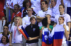 Swimmers of Slovenia as fans: , Nika Karlina Petric, Neja Skufca, Emil Tahirovic, Nina Cesar, Matjaz Markic, Maja and Nina Sovinek at LEN European Short Course Swimming Championships Rijeka 2008, on December 14, 2008,  in Kantrida pool, Rijeka, Croatia. (Photo by Vid Ponikvar / Sportida)
