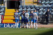 6th October 2018, Dens Park, Dundee, Scotland; Ladbrokes Premiership football, Dundee versus Kilmarnock; Jordan Jones of Kilmarnock is congratulated by Greg Stewart after scoring for 1-1 in the 17th minute