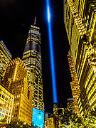World Trade Center, Freedom Tower on 9/11 with Blue lights