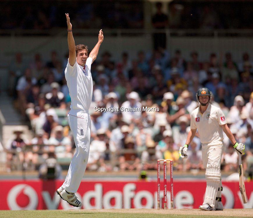 Steven Finn appeals in vain for the wicket of Steve Smith during the third Ashes test match between Australia and England at the WACA (West Australian Cricket Association) ground in Perth, Australia. Photo: Graham Morris (Tel: +44(0)20 8969 4192 Email: sales@cricketpix.com) 18/12/10