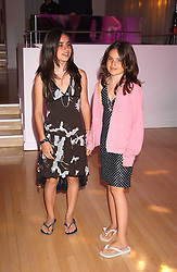 Left to right, Jade Jagger's daughters ASSISI and AMBA at party in aid of cancer charity Clic Sargent held at the Sanderson Hotel, Berners Street, London on 4th July 2005.<br />