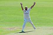 (Caption Correction) Joe Leach of Worcestershire appeals for a wicket which is given not out during the Specsavers County Champ Div 1 match between Somerset County Cricket Club and Worcestershire County Cricket Club at the Cooper Associates County Ground, Taunton, United Kingdom on 20 April 2018. Picture by Graham Hunt.