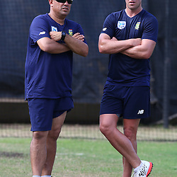 Russell Domingo of the (Head Coach South African Proteas) with AB de Villiers (capt) of the (South African Proteas) during the South African training and media opportunity at the Annex, Sahara Stadium Kingsmead, Durban, South Africa.30 February 2017 - (Photo by Steve Haag)