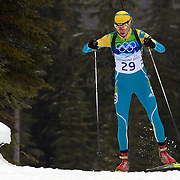 Winter Olympics, Vancouver, 2010. Elena Khrustaleva, Kazakhstan, on her way to finishing fifth in  the Women's 7.5 KM Sprint Biathlon at The Whistler Olympic Park, Whistler, during the Vancouver  Winter Olympics. 13th February 2010. Photo Tim Clayton