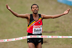 11-12-2011 ATLETIEK: EK 18 TH SPAR CROSS COUNTRY: VELENJE<br /> Winner Atelaw Yeshetela Bekele of Belgium celebrates at finish line during the Senior Mens race during the 18th SPAR European Cross Country Championships Velenje 2011<br /> ©2011-FotoHoogendoorn.nl/Matic Klansek Velej