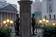 Two soldiers of the WW1 war memorial at Cornhill, with the pillars of Mansion House on the left, in a 1990s City of London (aka The Square Mile), the capital's financial centre, on 21st June 1997, in London, England. (Photo by Richard Baker / In Pictures via Getty Images)