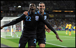 England's Danny Welbeck (left) and Andy Carrol celebrate after welbeck's goal in action against Sweden in the Group D Sweden v England match, June 15, 2012, in Kiev during the UEFA Euro 2012. Photo by Imago/i-Images