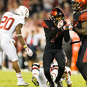 16September 2017: San Diego State Aztecs cornerback Kameron Kelly (7) celebrates after sacking Stanford Cardinal quarterback Keller Chryst (10) in the second quarter. The Aztecs lead Stanford 10-7 at half time at San Diego Stadium. <br /> www.sdsuaztecphotos.com