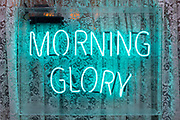 A neon sign forming the letters spelling the word 'Morning Glory' outside a cafe in Soho, on 15th January 2020, in London, England.
