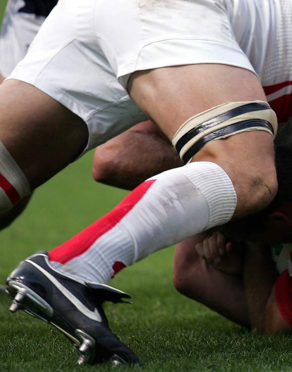 A detailed view of Nike boots and strapping. England v USA, Rugby World Cup 2007, Lens, France, 8th September 2007.