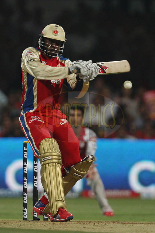 Chris Gayle during match 44 of the the Indian Premier League ( IPL) 2012  between The Royal Challengers Bangalore and the Kings XI Punjab held at the M. Chinnaswamy Stadium, Bengaluru on the 2nd May 2012..Photo by Jacques Rossouw/IPL/SPORTZPICS