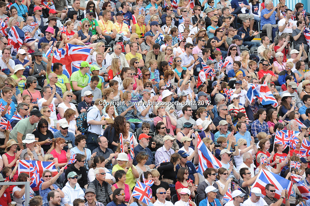 Fans and crowd during the Men's C2 Canoe Slalom at the Lee Valley Whitewater Centre, London, United Kingdom. Thursday 2 August 2012. Photo: Andrew Cornaga/Photosport.co.nz