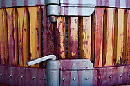 Basket press for Pinot Noir at Flowers winery, Sonoma Coast, California