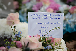 © Licensed to London News Pictures . 30/10/2018. Accrington , UK . Tributes and flowers left by Gemma's father , outside the crematorium , during the service . The funeral of Gemma Nuttall at Accrington Crematorium . Gemma died of cancer despite initially seeing off the disease after radical immunotherapy treatment in Germany , paid for with the fundraising support of actress Kate Winslet , who read of Gemma's plight on a crowdfunding website shortly after she lost her own mother to cancer . Permission to photograph given by Gemma's mother , Helen Sproates . Photo credit : Joel Goodman/LNP