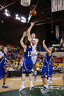 November 27th, 2010:  Anchorage, Alaska - Weber State junior forward Kyle Bullinger (3) takes a shot in the key in the Wildcats 82-81 win against Drake in the third place game of the Great Alaska Shootout.