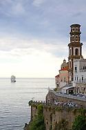 Tall ship leaving Almafi Coast at Atrani Italy