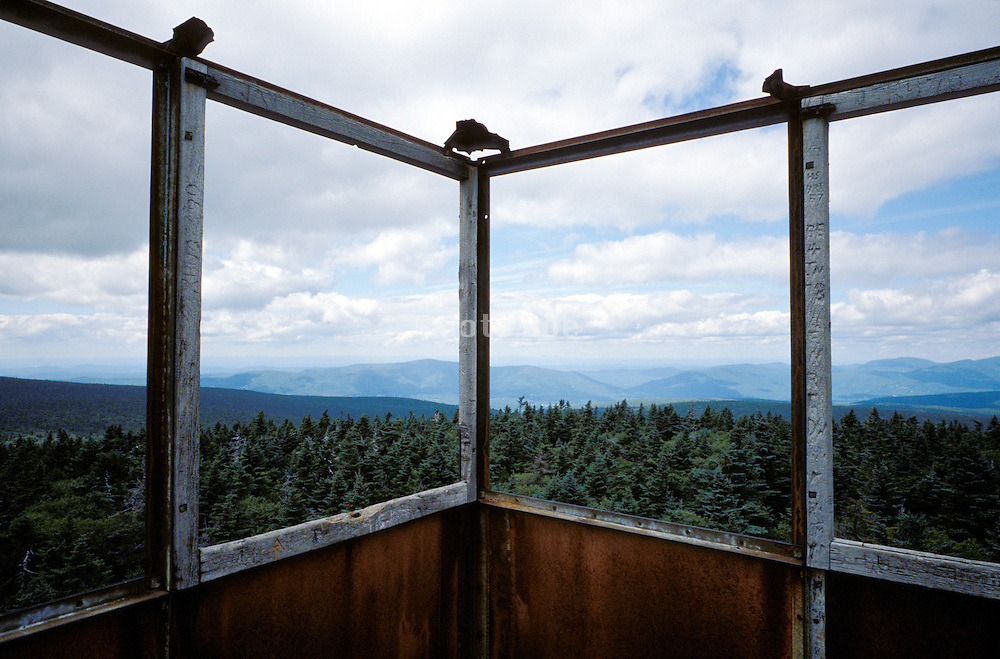 view from inside observation deck overlooking of a forest