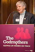 Sybil Graham of the WI speaking to the VSO's Godmothers event. Campaigners gathered to ensure the Government gives substantial financial support to UN Women, putting an end to discrimination against women around the world.