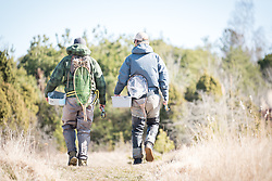 11 April 2018, Gotland, Sweden: Flyfishing for seatrout with Swedish flyfishing guide company FishYourDream. Here, FishYourDream guide Jerome Saunders (left) and Erik Sjödin (right).