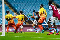 Rudy Gestede of Aston Villa desperately tries to get a shot on goal away but sends it wide - Mandatory byline: Rogan Thomson/JMP - 19/01/2016 - FOOTBALL - Villa Park Stadium - Birmingham, England - Aston Villa v Wycombe Wanderers - FA Cup Third Round Replay.
