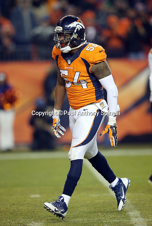 Denver Broncos inside linebacker Brandon Marshall (54) celebrates after a key play during the 2015 NFL week 16 regular season football game against the Cincinnati Bengals on Monday, Dec. 28, 2015 in Denver. The Broncos won the game in overtime 20-17. (©Paul Anthony Spinelli)