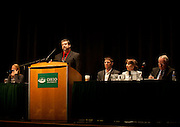 Ben Stuart of Ohio University moderates the Oil & Gas Leasing Forum at Baker Center on March 27, 2012.