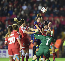 FC Barcelona's Marta Torrejon heads the ball over the Vixens net - Photo mandatory by-line: Paul Knight/JMP - Mobile: 07966 386802 - 13/11/2014 - SPORT - Football - Bristol - Ashton Gate Stadium - Bristol Academy v FC Barcelona - UEFA Women's Champions League