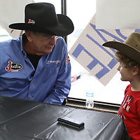 Libby Ezell | BUY AT PHOTOS.DJOURNAL.COM<br /> Lecile Harris talks to Will Tucker, 5, who will be telling his Le Bonheur story at the rodeo